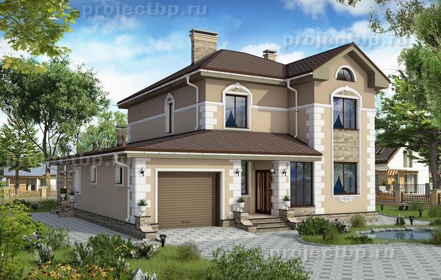 Проект дома из силикатного кирпича с отделкой штукатуркой 181-B